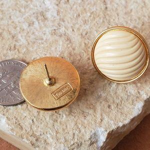 Vintage Trifari cream and gold earrings